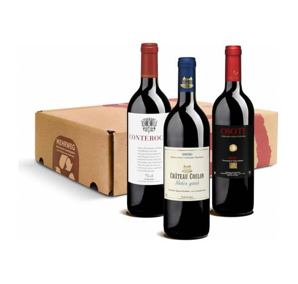 Geschenk-DegustierService Rotwein (3 Fl. Wein)