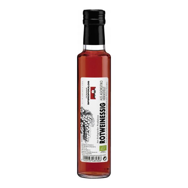 Spiropoulos Griechischer Essig 25 cl, Weinessig aus Agiorgitiko-Trauben, Bio-Essig