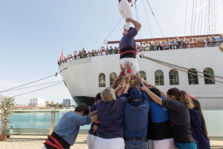 Abschiedsgruss in Tarragona: Castellers – eine spektakuläre Menschenpyramide.