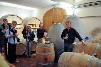 Duvivier-Winzer Antoine Kaufmann gibt Einblick in die Vinifikation.