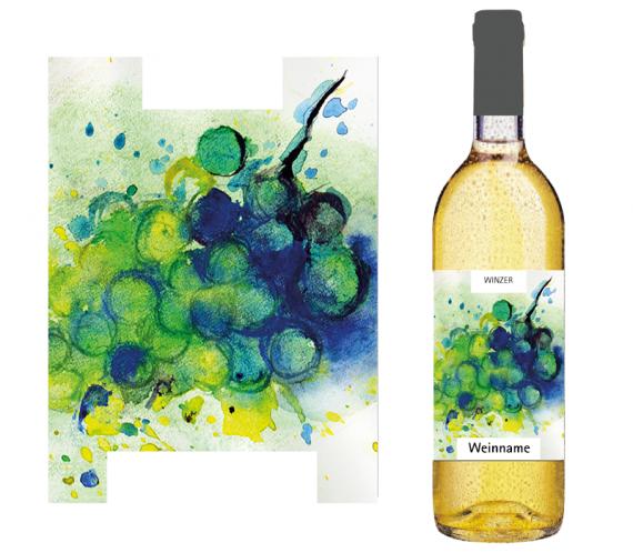 Passend für den weissen Biodiversitätswein: Bunte Kleckse in kühlen Farben und verschiedenen Formen symbolisieren Biodiversität in Form einer Weissweintraube.