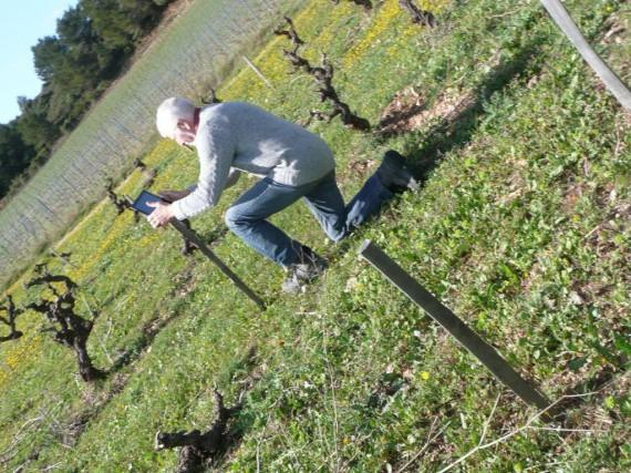 Winzerberater Rolf Kaufmann macht Bilder fürs Protokoll im Weingut Lignères