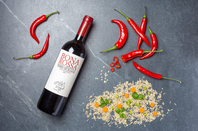 Gemüsereis mit Chili und Rotwein