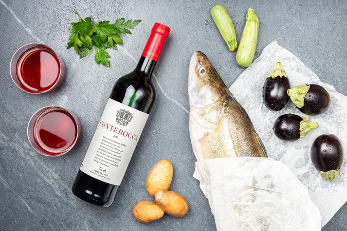 Zander mit Rotwein