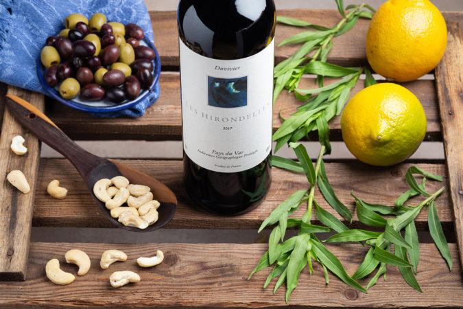 Huhhn mit Cashew, Oliven und Rotwein